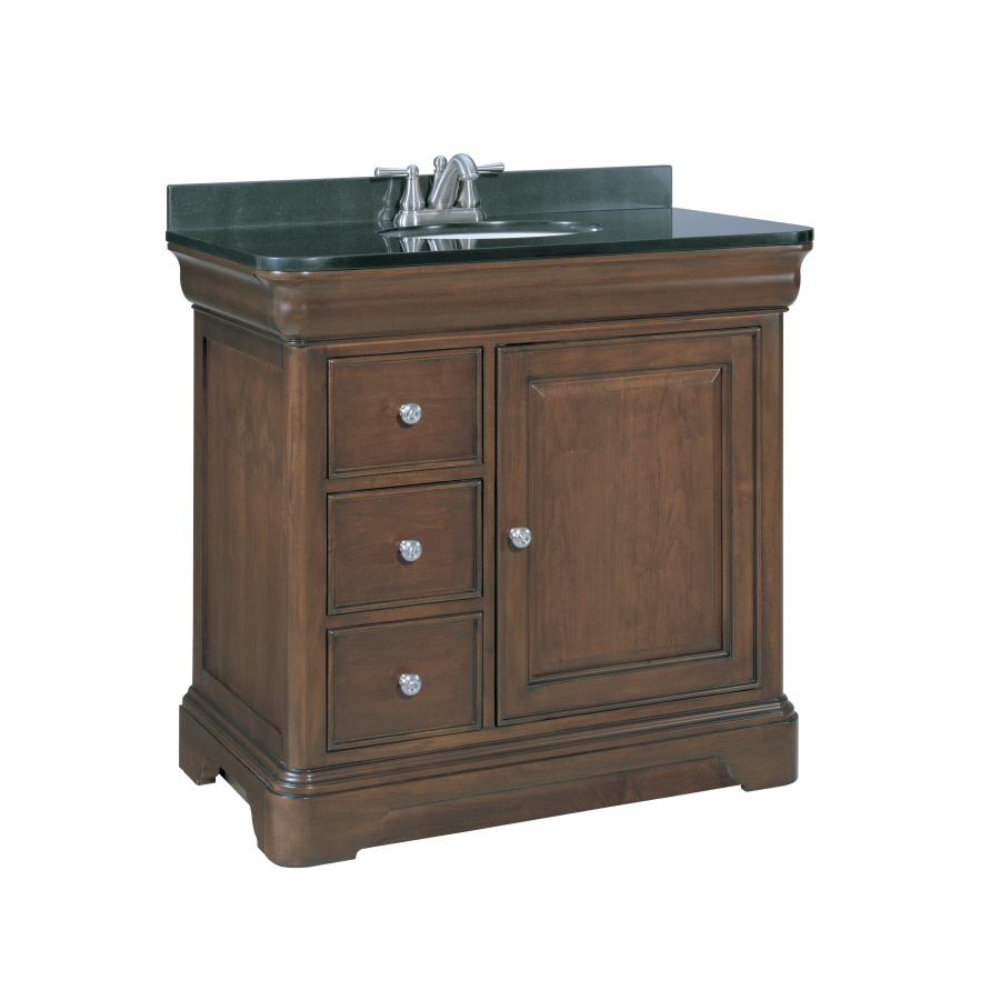 Shop allen roth fenella rich cherry undermount single for Vanity top cabinet