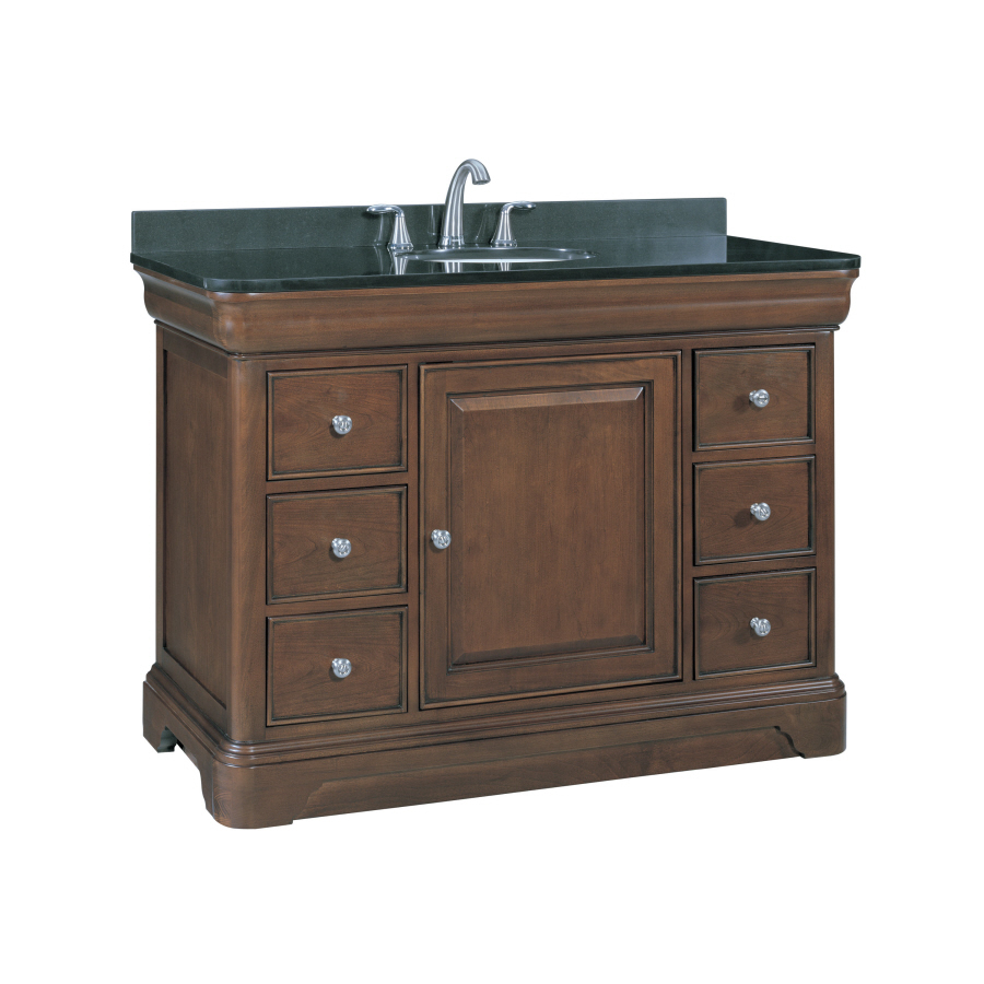 Shop allen roth fenella rich cherry undermount single - Lowes single sink bathroom vanity ...