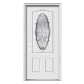 ReliaBilt Hampton 2-Panel Insulating Core Oval Lite Right-Hand Inswing Primed Steel Prehung Entry Door (Common: 36-in x 80-in; Actual: 37.5-in x 81.75-in)