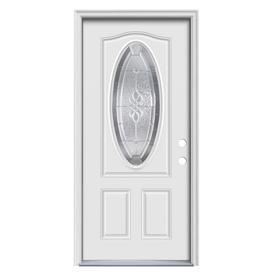 ReliaBilt Hampton 2-Panel Insulating Core Oval Lite Left-Hand Inswing Primed Steel Prehung Entry Door (Common: 36-in x 80-in; Actual: 37.5-in x 81.75-in)