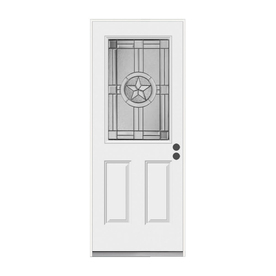 ReliaBilt Radiant Star 2-Panel Insulating Core Half Lite Right-Hand Inswing Primed Steel Prehung Entry Door (Common: 36-in x 80-in; Actual: 37.5-in x 81.75-in)