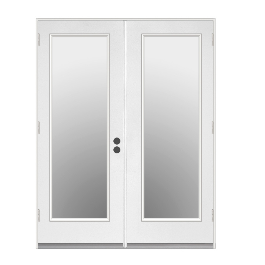 Shop reliabilt 71 5 in 1 lite glass steel french outswing for Double doors with glass
