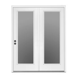 ReliaBilt 71.5-in 1-Lite Glass Primer White Steel Center-Hinged Inswing Patio Door
