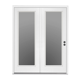 ReliaBilt 71.5-in 1-Lite Glass Primer White Steel Center-Hinged Inswing Patio Door