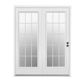 Shop reliabilt 71 5 in dual pane 15 lite steel center for Center hinged patio doors