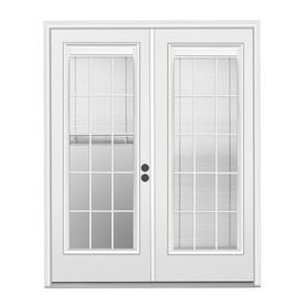 ReliaBilt 71.5-in Triple-Pane Blinds Between The Glass Steel French Inswing Patio Door