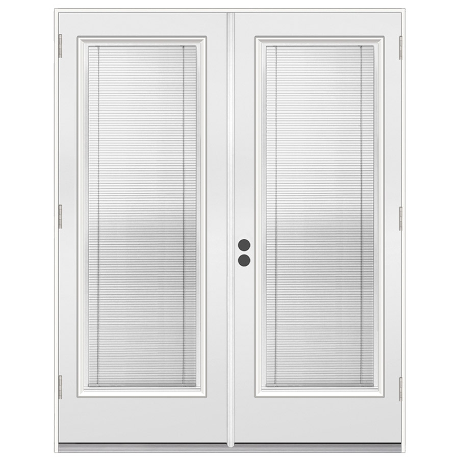 Shop reliabilt 71 5 in dual pane blinds between the glass for Outswing french doors