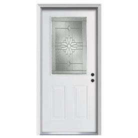 ReliaBilt Laurel 2-Panel Insulating Core Half Lite Left-Hand Inswing Primed Steel Prehung Entry Door (Common: 36-in x 80-in; Actual: 37.5-in x 81.75-in)
