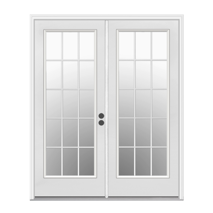 Shop reliabilt 71 5 in 15 lite glass primer white steel for Patio entry doors
