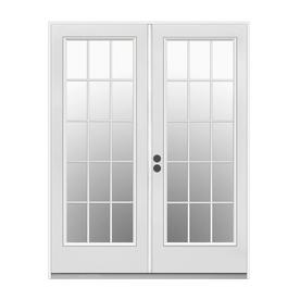 ReliaBilt 71.5-in 15-Lite Glass Primer White Steel French Inswing Patio Door