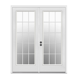 ReliaBilt 59.5-in 15-Lite Glass Primer White Steel French Inswing Patio Door