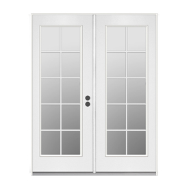 ReliaBilt 71.5-in 10-Lite Glass Primer White Steel French Inswing Patio Door