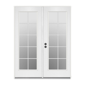 ReliaBilt 59.5-in 10-Lite Glass Primer White Steel French Inswing Patio Door