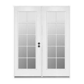 ReliaBilt 59.5-in 10-Lite Glass Primer White Steel French Inswing Patio Door