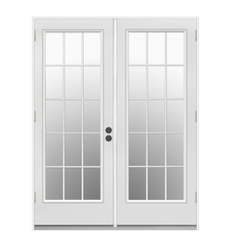 ReliaBilt 71.5-in 15-Lite Glass Primer White Steel French Outswing Patio Door