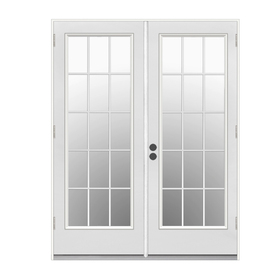 ReliaBilt 59.5-in Low-E Insulating 15-Lite Steel French Outswing Patio Door