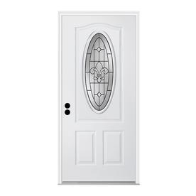 ReliaBilt Nola 1-Panel Insulating Core 3/4 Lite Right-Hand Inswing Primed Steel Prehung Entry Door (Common: 36-in x 80-in; Actual: 37.5-in x 81.75-in)