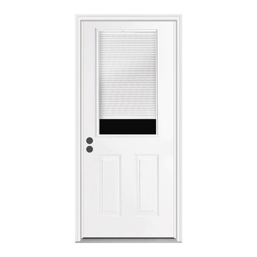 Shop ReliaBilt Blinds Between The Glass Half Lite Prehung Inswing Steel Entry