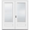 JELD-WEN 71.5-in 1-Lite Glass Primer White Composite French Inswing Patio Door