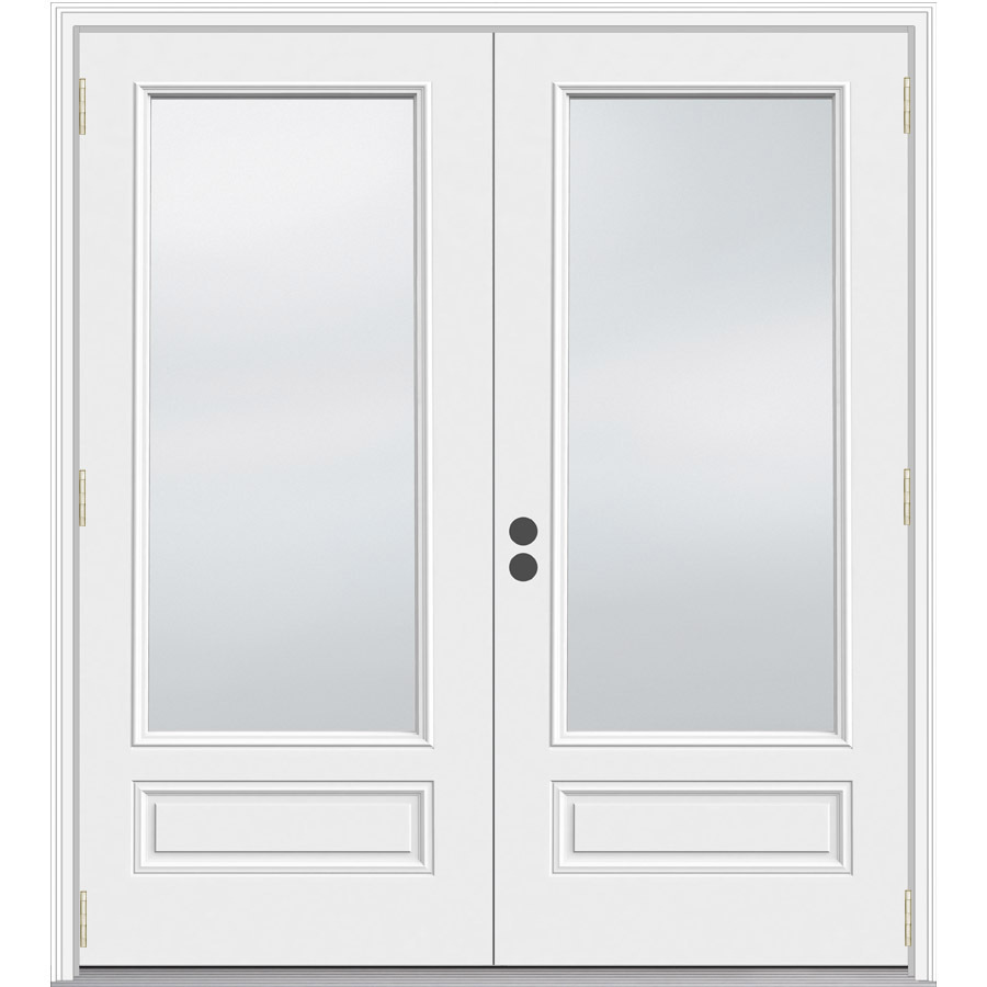 Shop jeld wen 71 5 in 1 lite glass composite french for Double doors with glass