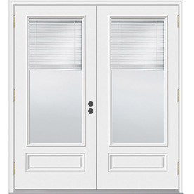 JELD-WEN 5-ft 11-1/2-in Low-E Blinds Between The Glass Composite French Outswing Patio Door