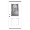 ReliaBilt Hampton 2-Panel Insulating Core Half Lite Right-Hand Inswing Primed Fiberglass Prehung Entry Door (Common: 36-in x 80-in; Actual: 37.5-in x 81.75-in)