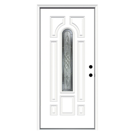 ReliaBilt Hampton 8-Panel Insulating Core Center Arch Lite Left-Hand Inswing Primed Fiberglass Prehung Entry Door (Common: 36-in x 80-in; Actual: 37.5-in x 81.75-in)