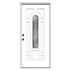 ReliaBilt Hampton 8-Panel Insulating Core Center Arch Lite Right-Hand Inswing Primed Fiberglass Prehung Entry Door (Common: 36-in x 80-in; Actual: 37.5-in x 81.75-in)