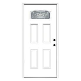 ReliaBilt Hampton 4-Panel Insulating Core Morelight Left-Hand Inswing Primed Fiberglass Prehung Entry Door (Common: 36-in x 80-in; Actual: 37.5-in x 81.75-in)