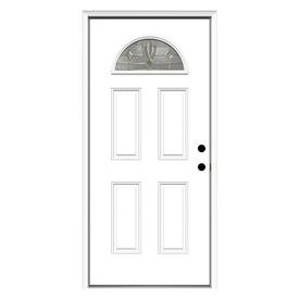 ReliaBilt Laurel 4-Panel Insulating Core Fan Lite Left-Hand Inswing Primed Fiberglass Prehung Entry Door (Common: 36-in x 80-in; Actual: 37.5-in x 81.75-in)