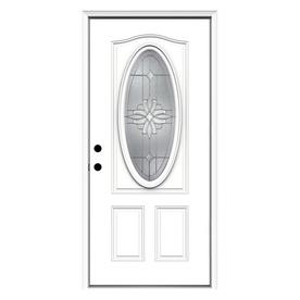 ReliaBilt Laurel 2-Panel Insulating Core Oval Lite Right-Hand Inswing Primed Fiberglass Prehung Entry Door (Common: 36-in x 80-in; Actual: 37.5-in x 81.75-in)