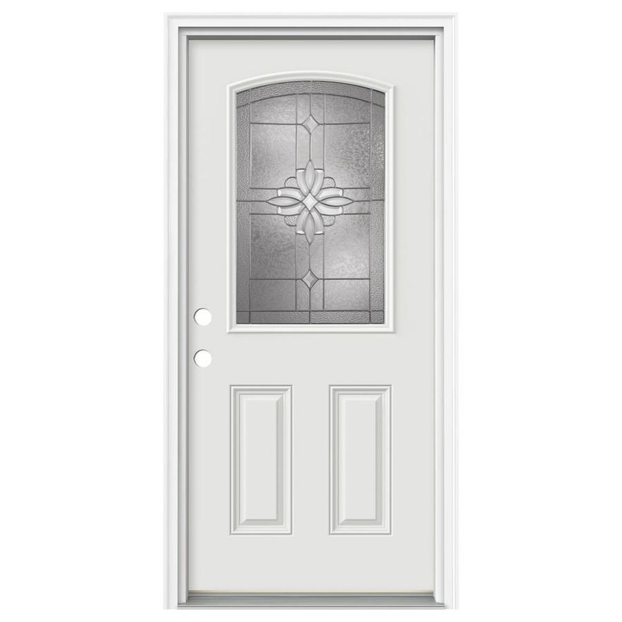 Shop reliabilt decorative inswing fiberglass entry door common 80 in x 36 in actual for Lowes fiberglass exterior doors