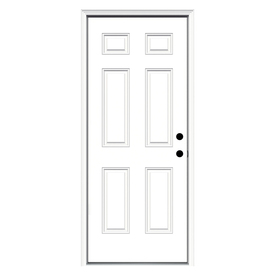 ReliaBilt 6-Panel Insulating Core Left-Hand Inswing Primed Fiberglass Prehung Entry Door (Common: 36-in x 80-in; Actual: 37.5-in x 81.75-in)