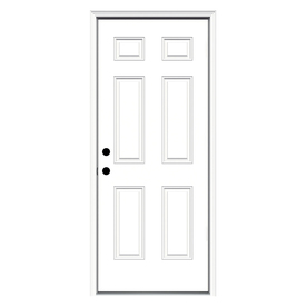 ReliaBilt 6-Panel Insulating Core Right-Hand Inswing Primed Fiberglass Prehung Entry Door (Common: 32-in x 80-in; Actual: 33.5-in x 81.75-in)