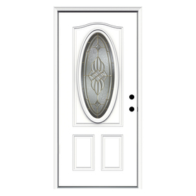 ReliaBilt 2-Panel Insulating Core Oval Lite Left-Hand Inswing Primed Fiberglass Prehung Entry Door (Common: 36-in x 80-in; Actual: 37.5-in x 81.75-in)