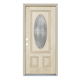 ReliaBilt Hampton 2-Panel Insulating Core Oval Lite Right-Hand Inswing Fiberglass Unfinished Prehung Entry Door (Common: 36-in x 80-in; Actual: 37.5-in x 81.75-in)