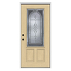 ReliaBilt Hampton 1-Panel Insulating Core 3/4 Lite Right-Hand Inswing Fiberglass Unfinished Prehung Entry Door (Common: 36-in x 80-in; Actual: 37.5-in x 81.75-in)