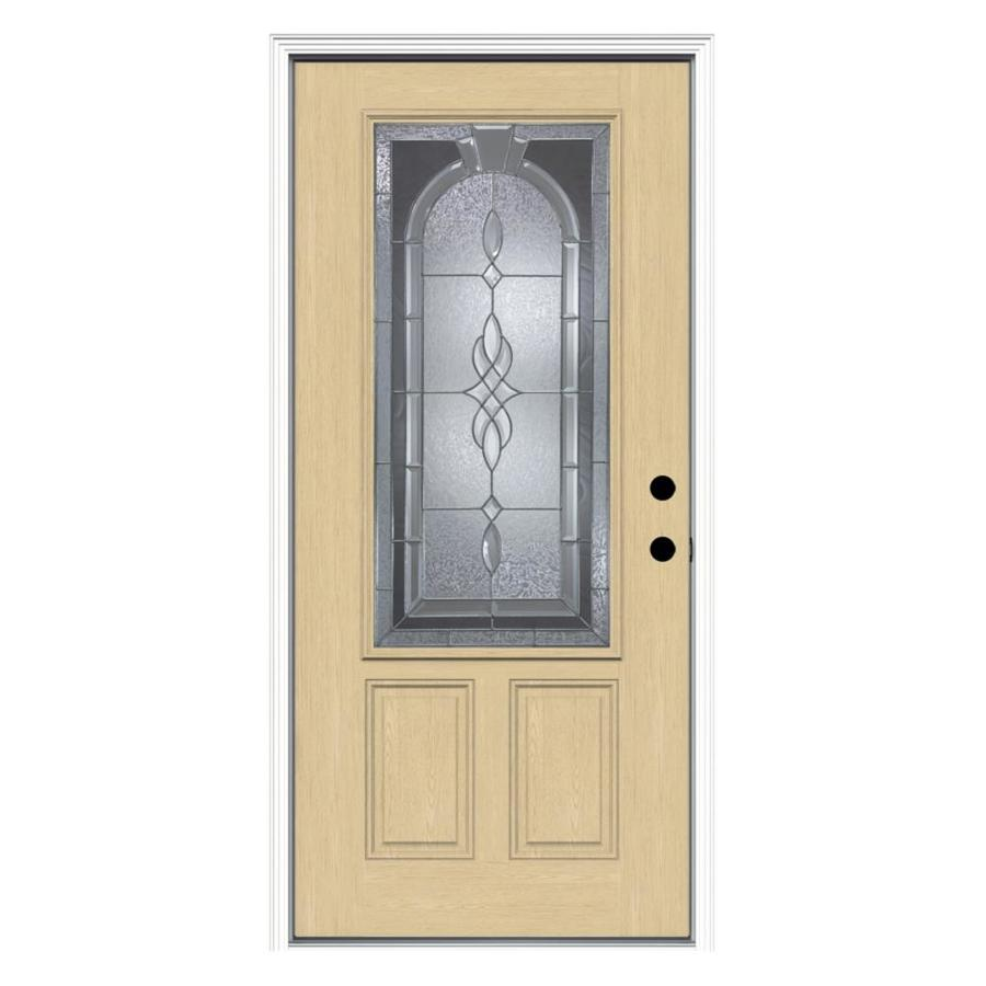 Shop ReliaBilt Decorative Inswing Fiberglass Entry Door Common 80 In X 36 I