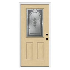 ReliaBilt Hampton 2-Panel Insulating Core Half Lite Left-Hand Inswing Fiberglass Unfinished Prehung Entry Door (Common: 36-in x 80-in; Actual: 37.5-in x 81.75-in)