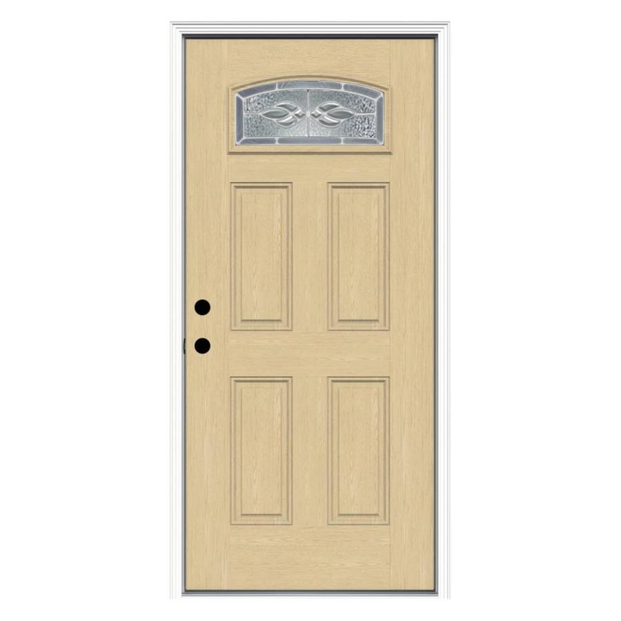 Shop reliabilt decorative prehung inswing fiberglass entry for Lowes exterior doors