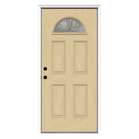 ReliaBilt Laurel 4-Panel Insulating Core Fan Lite Right-Hand Inswing Fiberglass Unfinished Prehung Entry Door (Common: 36-in x 80-in; Actual: 37.5-in x 81.75-in)