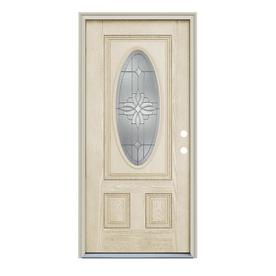 ReliaBilt Laurel 2-Panel Insulating Core Oval Lite Left-Hand Inswing Fiberglass Unfinished Prehung Entry Door (Common: 36-in x 80-in; Actual: 37.5-in x 81.75-in)