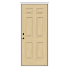 ReliaBilt 6-Panel Insulating Core Right-Hand Inswing Fiberglass Unfinished Prehung Entry Door (Common: 32-in x 80-in; Actual: 33.5-in x 81.75-in)