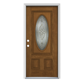 ReliaBilt 2-Panel Insulating Core Oval Lite Right-Hand Inswing Fiberglass Unfinished Prehung Entry Door (Common: 36-in x 80-in; Actual: 37.5-in x 81.75-in)
