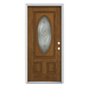 ReliaBilt 2-Panel Insulating Core Oval Lite Left-Hand Inswing Fiberglass Unfinished Prehung Entry Door (Common: 36-in x 80-in; Actual: 37.5-in x 81.75-in)