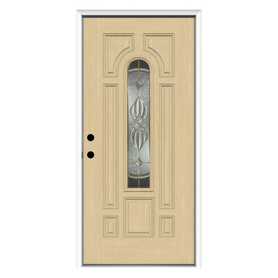 Shop reliabilt decorative prehung inswing fiberglass entry door common 36 in x 80 in actual for Lowes fiberglass exterior doors