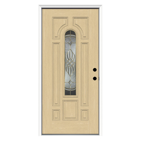 ReliaBilt 8-Panel Insulating Core Center Arch Lite Left-Hand Inswing Fiberglass Unfinished Prehung Entry Door (Common: 36-in x 80-in; Actual: 37.5-in x 81.75-in)