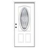 ReliaBilt Hampton 2-Panel Insulating Core Oval Lite Right-Hand Inswing Primed Steel Prehung Entry Door (Common: 36-in x 80-in; Actual: 37.5-in x 81.75-in)