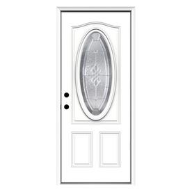 ReliaBilt Hampton 2-Panel Insulating Core Oval Lite Right-Hand Inswing Primed Steel Prehung Entry Door (Common: 32-in x 80-in; Actual: 33.5-in x 81.75-in)