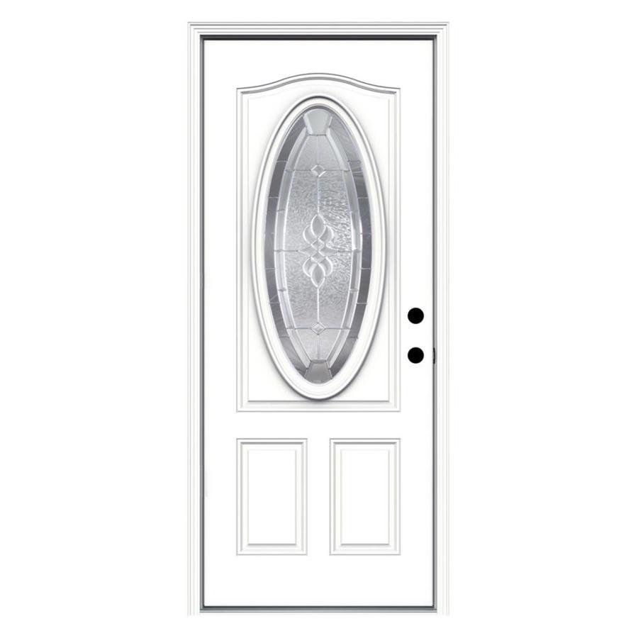 shop reliabilt oval lite prehung inswing steel entry door common 32 in x 80 in actual 33 5